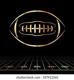 An icon of a gold colored American football over a football field illustration. Vector EPS 10 available. Room for copy.