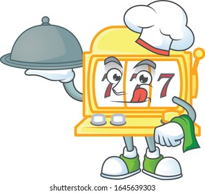 An icon of golden slot machine as a Chef with food on tray ready to serve