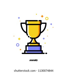 Icon of golden trophy cup for business awards concept. Flat filled outline style. Pixel perfect 64x64. Editable stroke