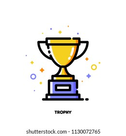 Icon of golden trophy cup for success or winner concept. Flat filled outline style. Pixel perfect 64x64. Editable stroke
