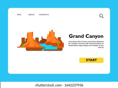 Icon of Grand Canyon national park. Arizona, Colorado river, steep-sided. USA concept. Can be used for topics like sight, nature or famous place