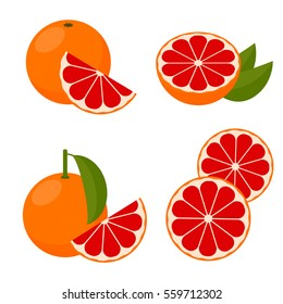 Icon Grapefruit. Set with whole fruit and a half, with leaves and without. Vector illustration in a flat style.
