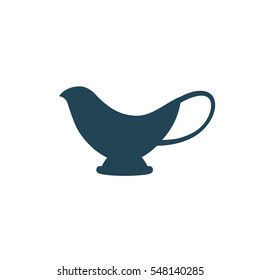 "Icon ""gravy boat"", vector illustration. Dark outline on a white background."