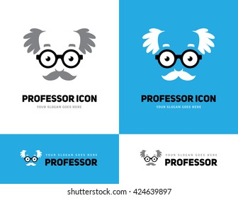 Icon of grey haired old man face in round glasses. Professor, teacher or scientist logo. Grandpa symbol.