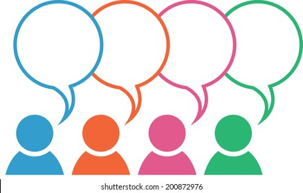 Icon with group in different colors with blank overlapping speech bubbles
