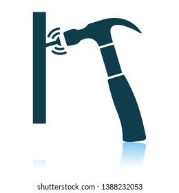 Icon Of Hammer Beat To Nail. Shadow Reflection Design. Vector Illustration.