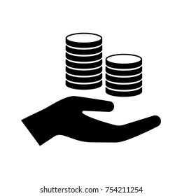 Icon of hand holding cash in stacks of coins. Concept representing payment, value, charity or cash win. Vector Illustration