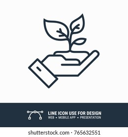 Icon Hand holding a leafy plant graphic design single icon vector illustration
