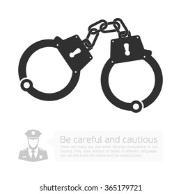Icon handcuffs. Vector infographics with a picture of handcuffs, police and Development dialog with the cloud.