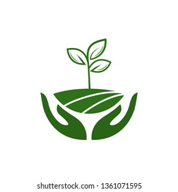 Icon of hands carefully holding green leaves. Symbol of ecology, environmental awareness, nature protection concept. Vector Illustration. 	 Plant in hand. Vector icon