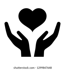 Icon of hands carefully holding heart. Symbol of love and care. Vector Illustration