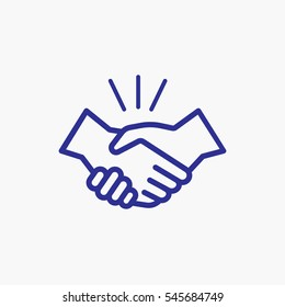 Icon Handshake Symbol. Designed for web and software interfaces. Outline Style Design