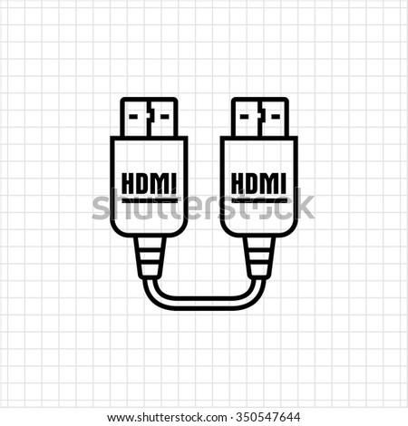 Icon Hdmi Hdmi Cable Stock Vector Royalty Free 350547644