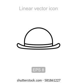 Icon of the headdress bowler in a linear style