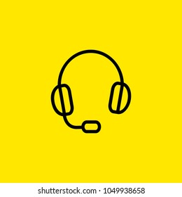 Icon of headphones. Headset, microphone, earphone. Communication concept. Can be used for topics like call center, audio, equipment.