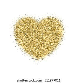 Icon of Heart with gold sparkles and glitter, glow light, bright sequins, sparkle tinsel, shimmer dust. Heart sign isolated on white background