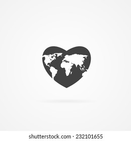 Icon of heart with world map inside. Shadow and white background.