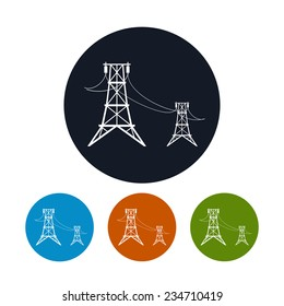 Icon high voltage power lines ,  four types of colorful round icons  power lines, vector illustration