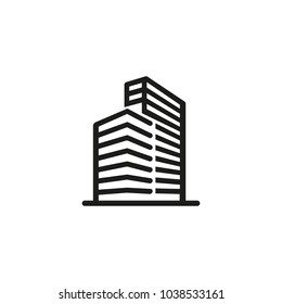 Icon of high-rise office building. Construction, tall, urban. Architecture concept. Can be used for topics like city, financial district, workplace, business