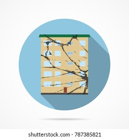 Icon home with cracks in the wall after the earthquake. Vector illustration