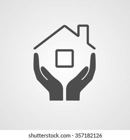 Icon home. The symbol of the company for the construction repair and maintenance of the house. Vector illustration.