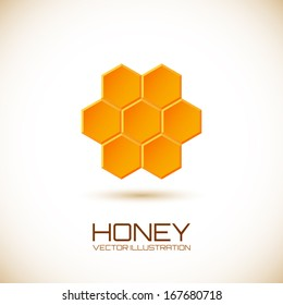 Icon with honeycombs. Vector illustration