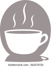 Icon of hot, steaming cup of coffee, tea, hot chocolate