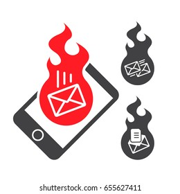 Icon hotmail, important email. Urgent message on the phone. Vector illustration.
