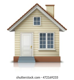 Icon of house on white background, illustration of cool detailed countryside private house, EPS 10 contains transparency