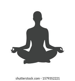 Icon human figure women in yoga pose mediation vector graphic illustration