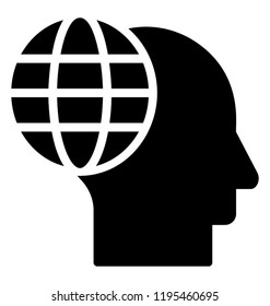 Icon of a human head having a earth globe depicting ecologist