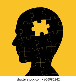 Icon of human head with piece of puzzle inside. Logo of dementia and creative. Stock vector illustration.