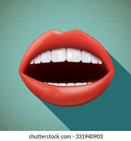 Icon human mouth. Flat design. Stock vector illustration.