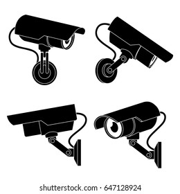 Icon illustration for cctv camera in black