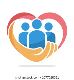 icon illustration with the concept of family care, care about humanity