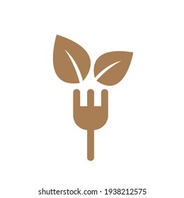Icon illustration of a fork with vegetarian leaves