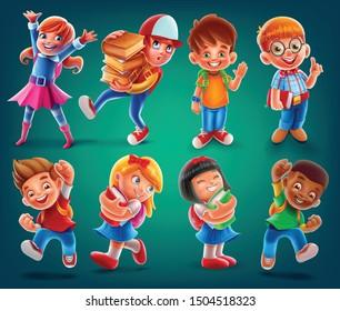 icon illustration kids for school