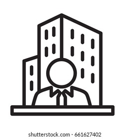 Icon illustration for real estate business / real estate agent, visualized in outline design style.