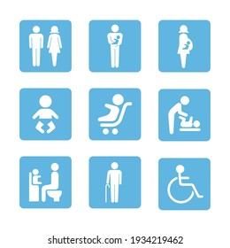 Icon illustration set of people signs.