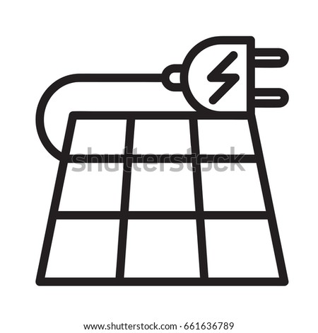icon illustration solar power electric generator stock vector
