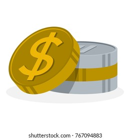 icon illustration for a stack of coins with dollar symbol detail