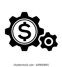 Icon illustrations for finance businesses that illustrate money working in black icon style