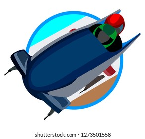 icon and image of bobsleigh, winter sports isolated on white background