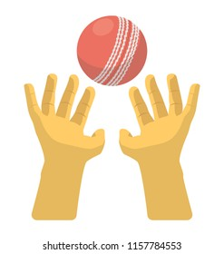 An icon image denoting cricket player hands tending to catch ball