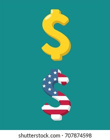 Icon with the image of the dollar sign. Gold dollar sign and dollar sign textured under the American flag.