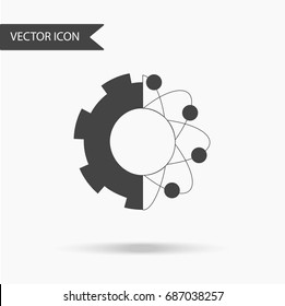 Icon with the image of gears and atoms on a white background. The flat icon for your web design, logo, UI. Vector illustration.