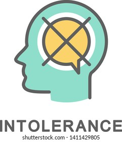 Icon intolerance. Hostility towards other judgments. The thin contour lines with color fills.