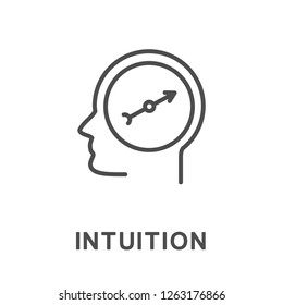 Icon intuition. The ability of a person to correctly understand the meaning of events and correctly navigate in different situations. The thin contour lines with color fills.