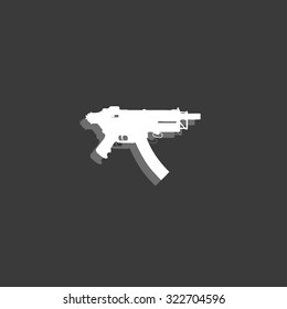 An Icon Isolated on a Grey Background - MAchine Gun