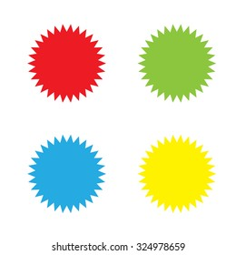 An Icon Isolated on a White Background in a Variety of Colours - Spikey Circle